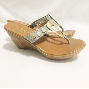 A. Giannetti Wood Wedge Sandals
